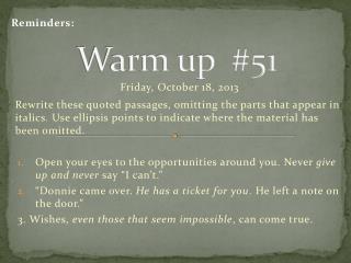 Warm up  #51