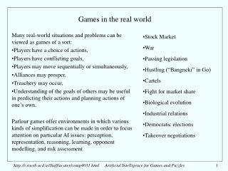 Games in the real world