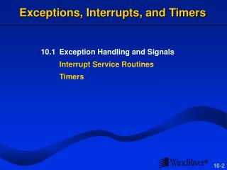 Exceptions, Interrupts, and Timers