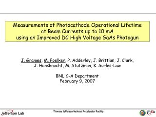 Measurements of Photocathode Operational Lifetime at Beam Currents up to 10 mA