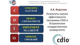 Результаты оценки эффективности программы  CDIO  в Астраханском государственном университете