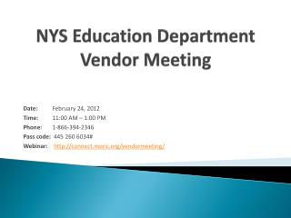 NYS Education Department Vendor Meeting