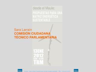 Sara Larraín COMISIÓN CIUDADANA  TÉCNICO PARLAMENTARIA