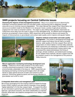 SNRI projects focusing on Central California issues