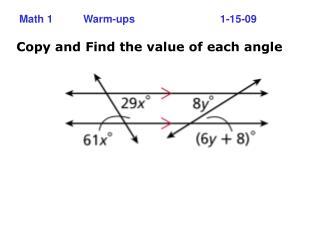 Math 1 Warm-ups   1-15-09