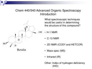 Chem 440/540 Advanced Organic Spectroscopy Introduction