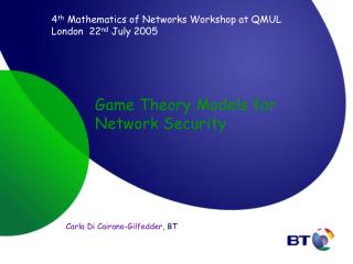 Game Theory Models for Network Security