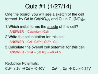 Quiz #1 (1/27/14)
