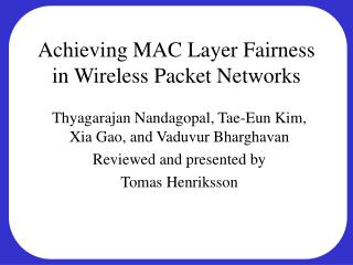 Achieving MAC Layer Fairness in Wireless Packet Networks