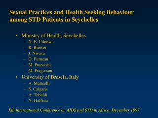 Sexual Practices and Health Seeking Behaviour among STD Patients in Seychelles