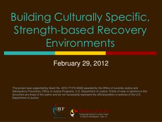 Building Culturally Specific, Strength-based Recovery  Environments