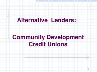 Community Development Credit Unions