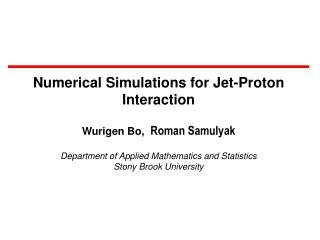 Numerical Simulations for Jet-Proton Interaction Wurigen Bo,   Roman Samulyak