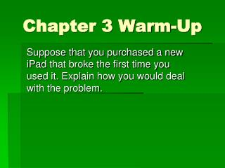 Chapter 3 Warm-Up