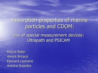 Absorption properties of marine particles and CDOM:
