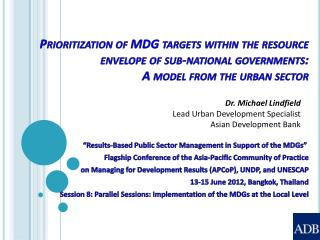 """Results-Based Public Sector Management in Support of the MDGs"""