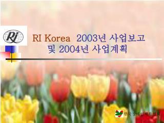 RI Korea   2003 년 사업보고  및  2004 년 사업계획