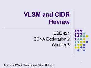 VLSM and CIDR Review