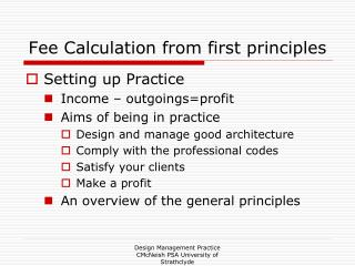 Fee Calculation from first principles