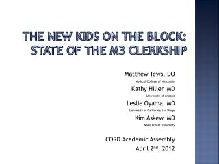The New Kids on the Block: State of the M3 Clerkship