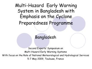 Bangladesh Second Experts' Symposium on  Multi-Hazard Early Warning Systems