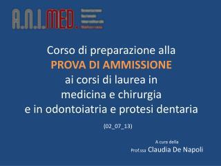A cura della  Prof.ssa  Claudia De Napoli
