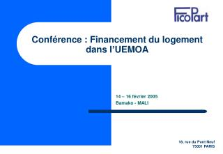 Conférence : Financement du logement  dans l'UEMOA