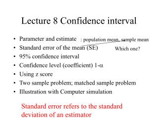 Lecture 8 Confidence interval