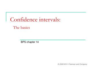 Confidence intervals:   The basics