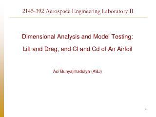 2145-392 Aerospace Engineering Laboratory II