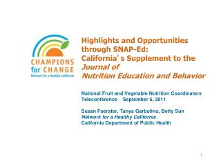 National Fruit and Vegetable Nutrition Coordinators Teleconference    September 6, 2011