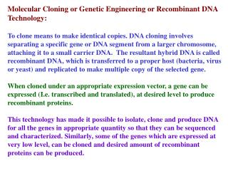 Molecular Cloning or Genetic Engineering or Recombinant DNA Technology: