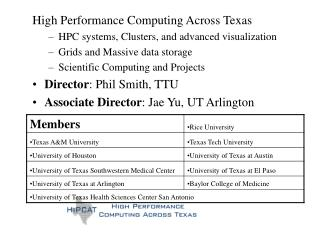 High Performance Computing Across Texas  HPC systems, Clusters, and advanced visualization