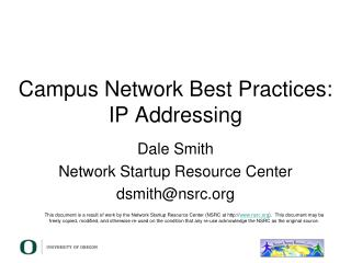 Campus Network Best Practices: IP Addressing