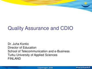 Quality Assurance and CDIO