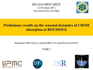 Preliminary results  on the  seasonal dynamics of  CDOM  absorption  at BOUSSOLE