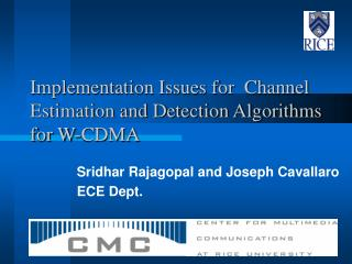 Implementation Issues for  Channel Estimation and Detection Algorithms for W-CDMA