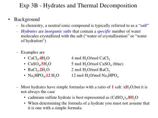 Exp 3B - Hydrates and Thermal Decomposition