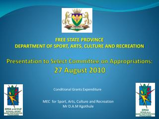 Presentation to Select Committee on Appropriations:  27 August 2010