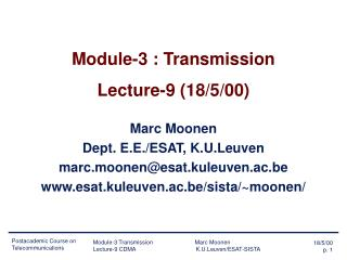 Module-3 : Transmission Lecture-9 (18/5/00)