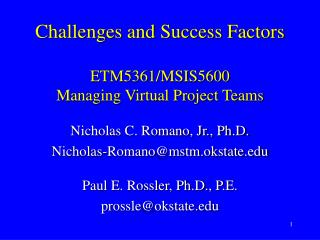 Challenges and Success Factors   ETM5361