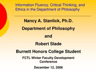 Information Fluency, Critical Thinking, and Ethics in the Department of Philosophy
