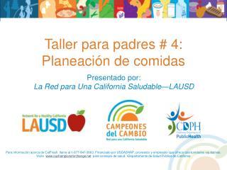Taller para padres # 4: Planeación de comidas