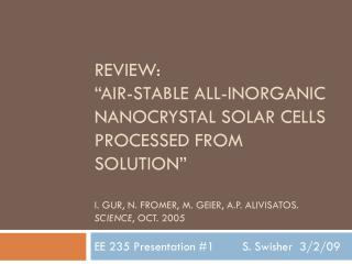 EE 235 Presentation #1  S. Swisher  3/2/09