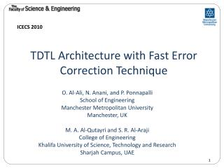 TDTL Architecture with Fast Error Correction Technique