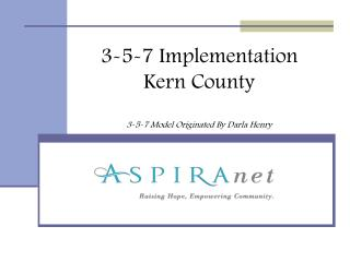 3-5-7 Implementation Kern County 3-5-7 Model Originated By Darla Henry