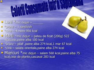 Luni * mic dejun – ______ *pranz – 1 sandvish  *cina – 4 mere 956 kcal