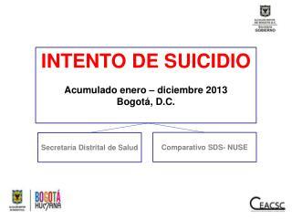 INTENTO DE SUICIDIO Acumulado enero – diciembre 2013 Bogotá, D.C.