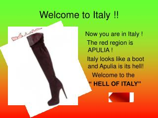 Welcome to Italy !!
