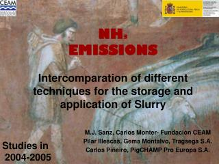 NH 3 EMISSIONS Intercomparation of different techniques for the storage and application of Slurry